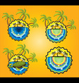 holiday sticker with sun beach and palms vector image