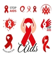 Isolated red ribbon disease awareness logo World vector image