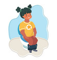 little girl sitting on the toilet vector image vector image