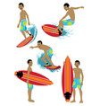 man character surfing set vector image