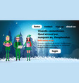 man woman wearing elf costume happy new year merry vector image vector image