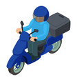 moto delivery icon isometric style vector image