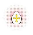 Papal tiara hat with cross icon comics style vector image vector image