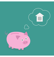 Piggy bank dream about house Think bubble Flat vector image