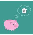 Piggy bank dream about house Think bubble Flat vector image