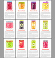 preserved fruit and vegetables set icon vector image vector image