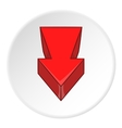 Red arrow icon cartoon style vector image vector image