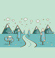 road in winter valley mountains hills clouds on vector image vector image