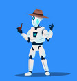 robot detective in hat and tobacco-pipe vector image