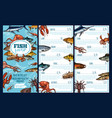 seafood restaurant menu template with fish sketch vector image