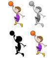 set basketball athletes vector image vector image