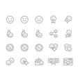 set emotion feedback line icons testimonials vector image
