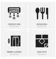 set of 4 editable hotel icons includes symbols vector image