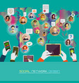 social network concept flat design for web sites vector image vector image