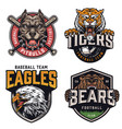 Sports teams vintage colorful logotypes