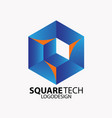 square tech logo vector image