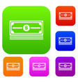 stack of dollars set collection vector image vector image