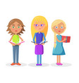 three cute girls holding open textbooks on white vector image vector image