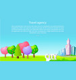 travel agency poster with trees and skyscrapers vector image vector image