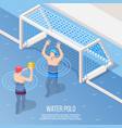 water polo isometric background vector image vector image