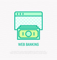 web banking thin line icon vector image vector image