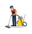 woman cleaning floor with professional vacuum vector image