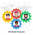 worldwide teamwork concept in flat style vector image vector image