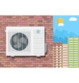 Air conditioning unit on wall of brick building vector image