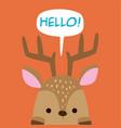 animal deer cartoon deer say hello background vect vector image