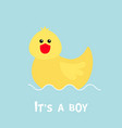 baby shower card with funny yellow duck bird toy vector image
