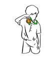 boy holding gold medal with green ribbon on his vector image