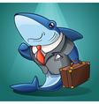 cartoon business shark vector image vector image