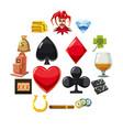 casino icons set symbols cartoon style vector image
