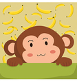 Close up Cute Monkey and Banana Cartoon vector image