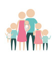 color silhouette pictogram big family group with vector image vector image