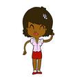 comic cartoon pretty woman with idea vector image vector image