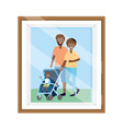 couple with bacarriage photo frame vector image vector image
