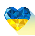 crystal gem jewelry Ukrainian heart with the flag vector image