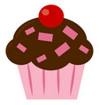 cupcake with cherry on white background vector image vector image