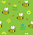 cute bee seamless pattern cartoon hand drawn vector image vector image