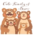 Cute card with a family of brown bears Dad hugs vector image vector image