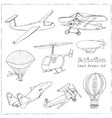 Doodle aviation set Vintage for vector image