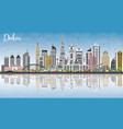 dubai uae skyline with gray buildings blue sky vector image vector image