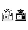 e-learning line and glyph icon home education vector image vector image