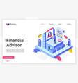 financial advisor isometric landing page vector image