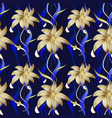 floral luxury seamless pattern dark blue vector image vector image