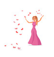 girl in pink dress flat vector image vector image