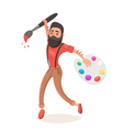 Hipster men with big paint brush and palette vector image vector image