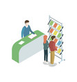 information stand at exhibition isometric element vector image vector image