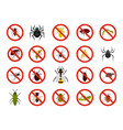 insects icon set flat style vector image vector image